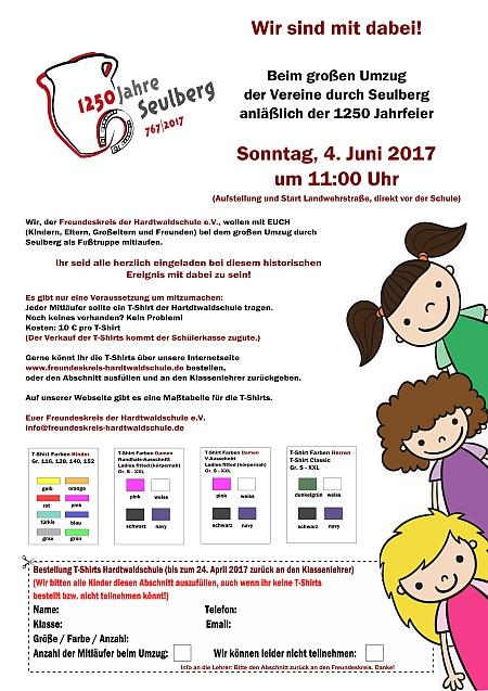 Einladung Flyer Umzug 1250 Jahre Seulberg 4. Juni 2017